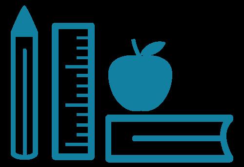 Symbol von Mobischubi, das einen blauen Stift, ein Lineal, einen Apfel und ein Buch beinhaltet